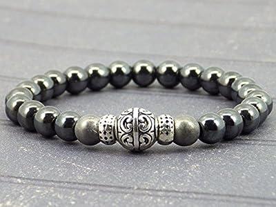 Bracelet pour hommes en perles d'hématite grises et noires et perles tibétaines