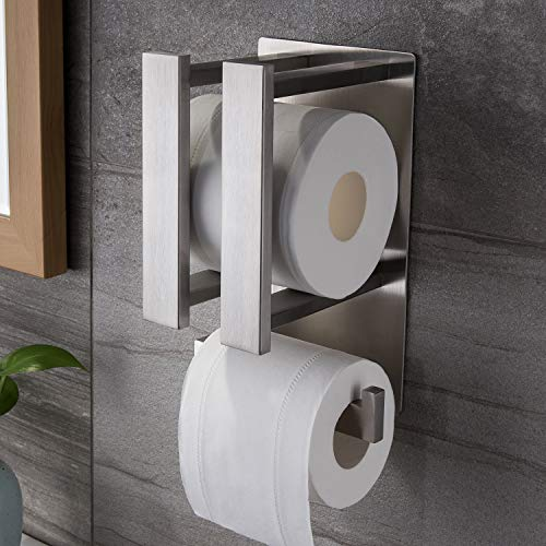 (Ruicer Toilettenpapierhalter Selbstklebend Klopapierhalter ohne Bohren Ersatzrollenhalter Edelstahl WC Papierhalter)