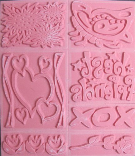 Chunky STAMPER SHEET of 7 STAMPERS w FRIENDS LOVE & FLOWERS Themes