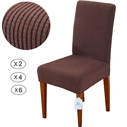 LUOLLOVE Stuhlhussen, Stretch Abnehmbare Waschbar Stuhlbezug für Esszimmerstühle,Stretch Stuhl Mit Gummiband für Esszimmer(2er,Braun)