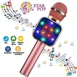 ShinePick - Microfono Karaoke Senza Fili, Microfono Bluetooth Portatile per Bambini/Adulti, Oro Rosa