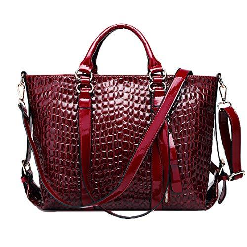 Cmbyn Mode Kroko Damentasche Multifunktional Handtasche Einfarbig Groß Frauentasche Dame Leder Umhängetasche -
