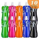 10 PCS Bottiglia d'Acqua pieghevole riutilizzabile in PE Alimentare, Senza BPA, con moschettone, Ideale per Sport Campeggio Escursionismo Viaggio Bicicletta leggero e flessibile