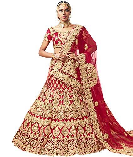 Indian Ethnicwear Bollywood Pakistani Wedding Red A-Line Coloured Lehenga Semi-stitched