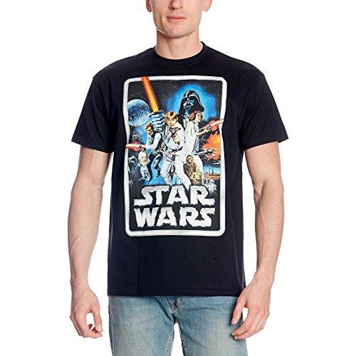 Star wars retro poster t shirt von elfico foresta nera nero m