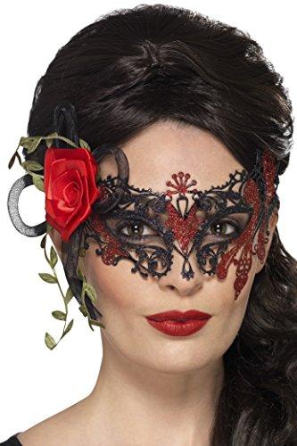 Smiffys, Damen Filigrane Tag der Toten Augenmaske mit Rosen, One Size, Schwarz, (Muertos Für Los Halloween De Kostüm Dia)