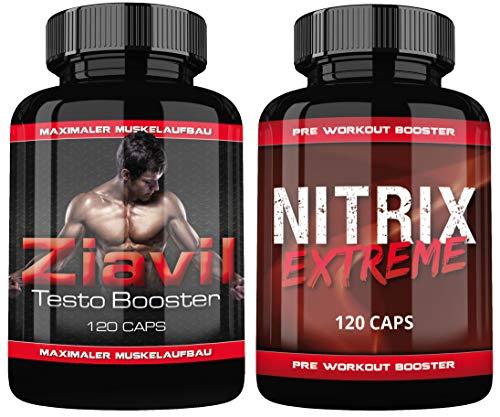 Ziavil Testo Booster + Nitrix Pre Workout Booster By VargPower | 240 Kapseln | Unterstützt Schneller Muskelaufbau | Testosteron Booster Schub | Mehr Energie | Besserer Fokus