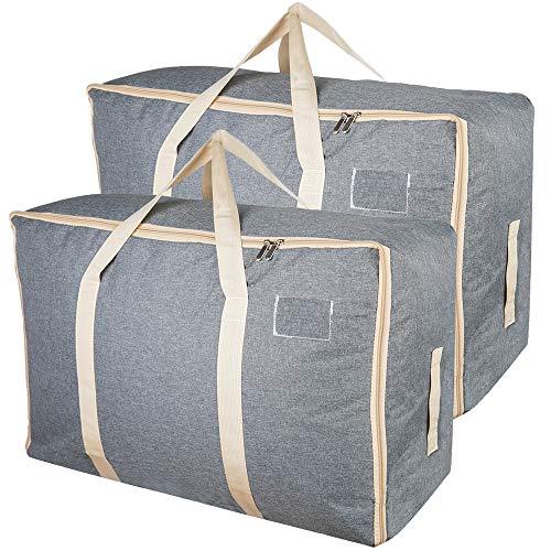 105L Große Aufbewahrungstaschen mit Reißverschlüssen, Qozary Dicker Aufbewahrungsbeutel für Kleidung, Bettwäsche, Daunen, Ideal für den Umzug nach Hause wie die 360-Grad-verstärkte Griffe (Pack von 2)
