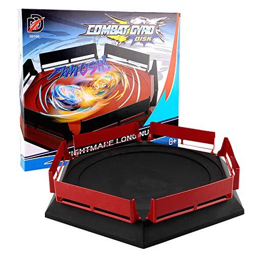 Arena Compatible con Beyblade, 38,5 X 34cm Disco Burst Gyro Arena Disco De Duelo Emocionante Spinning Top Launcher Accesorios De Juguete Para Niños Regalos De Cumpleaños De Navidad Negro