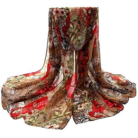 Transer ® Femelle Écharpes,Mode Femmes Fashion Design Fleur Imprimé Voile Stole Écharpes Long Neck Wraps Châle Écharpe Coloré Doux Cadeau
