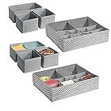 mDesign 8er-Set Aufbewahrungsbox aus Stoff – Ordnung im Kleiderschrank und der Schublade – Wäschebox auch für Accessoires und Schmuck – grau/creme