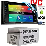 Mercedes C-Klasse W203 MoPf - JVC KW-V320BTE - CD DVD Bluetooth MP3 USB 6,8-Zoll Display Autoradio - Einbauset