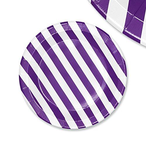 ler Papierteller Stripes 23cm weiß-lila Papiergeschirr Pappgeschirr Bunte Papierteller Wegwerfteller Becher Strohhalme Servietten ()