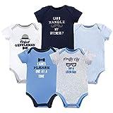 Luvable Friends Baby Girls' Cotton Bodysuits T-Shirt Set, Gentleman 5 Pack, 9-12 Months