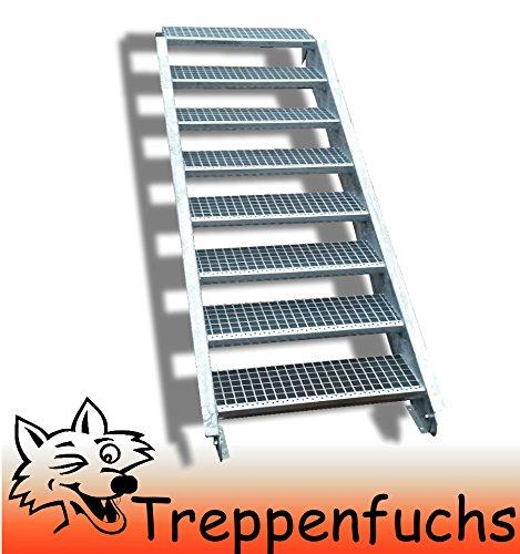 8 Stufen Stahltreppe Breite 140cm Geschosshöhe 120-160cm / Robuste Außentreppe / Wangentreppe / Stabile Industrietreppe für den Außenbereich / Inklusive Zubehör