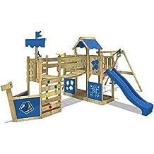 WICKEY Parque infantil-barco ArcticFlyer Torre de escalada con columpio, tobogán, escalera de cuerda y 2 cajones de arena, lona azul + tobogán azul
