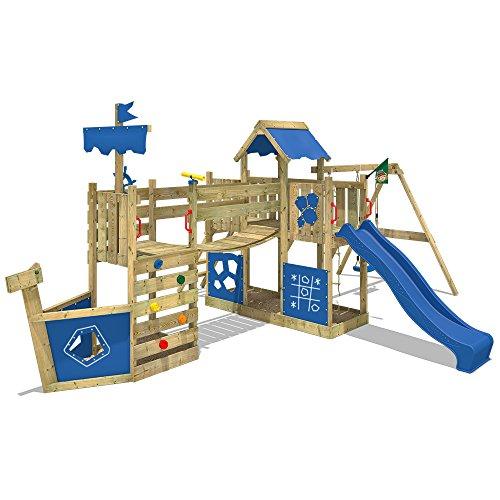 WICKEY Spielturm-Schiff ArcticFlyer Kletterturm in Schiffsoptik Klettergerüst mit Schaukel, Rutsche, Strickleiter und zwei Sandkästen, blaue Plane + blaue Rutsche