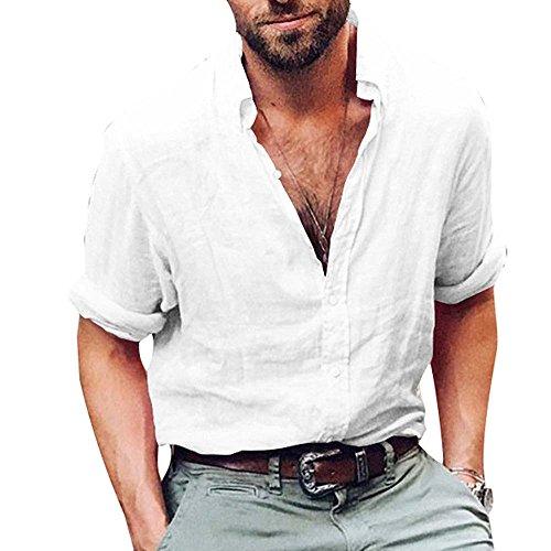 Huateng camicia miscela di cotone casual per uomo, camicetta allentata traspirante camicetta a maniche lunghe morbida camicia da uomo collare stand standar m-4xl