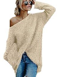 JackenLOVE Otoño Invierno Suéter Mujeres Moda Sweater Prendas de Punto Jerseys Tops Blusa Personalidad Hombro Oblicuo