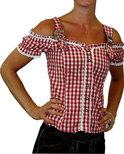 Sexy Carmenbluse Trachtenbluse Landhaus Mieder HANNI - 6 Farben zur Wahl, Größen:L;Farben:rot