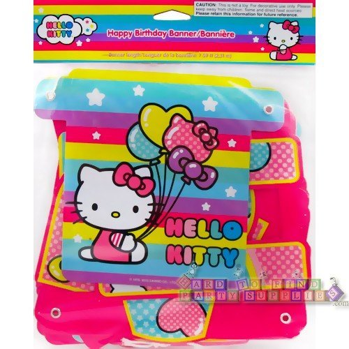 Hello Kitty Party Supplies Balloon Rainbow Happy Birthday Jointed Banner (1ct) by Designware (Hello Kitty-birthday Banner)