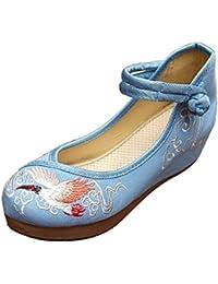 Icegrey Zapatos Hechos A Mano De La Grúa Bordada De La Cuña De Las Mujeres De Las Bailarinas