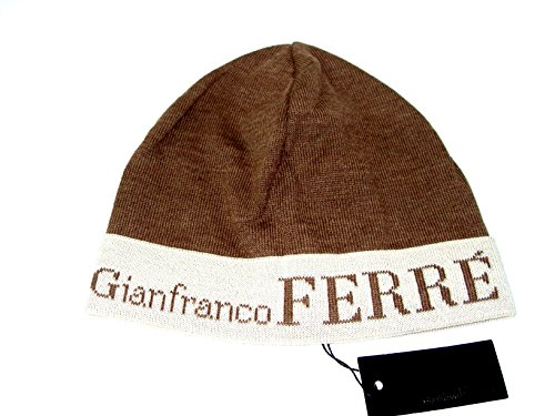 Gianfranco Ferre Cappello Risvolto Cuffia Unisex Made in Italy Marrone