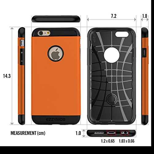 iPhone 6 Fall und iPhone 6 Plus Schutzhülle, ezzymob® Heavy Duty, Ultra Slim Hybrid Armor Hülle, stoßfest TPU Gummi und Polycarbonat für Apple iPhone 6/6S und Apple iPhone 6 Plus. iPhone 6 Plus (5.5-inches) Orange
