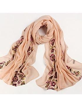 FLYRCX La mujer Bufanda Bufanda de algodón bordados florales regalos multi-propósito 200cmx90cm Sra.,G