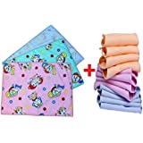 [Sponsored]Cotton Sheets For Babies / Waterproof Nappy Changing Mat / Bed Protector / Cotton Foam Cushioned Sleeping Mat Pack Of 2+Cotton Cloth U Shape Nappies/ Diapers / Langot For New Born Baby Washable And Reusable (0-9 Months Pack Of 12)