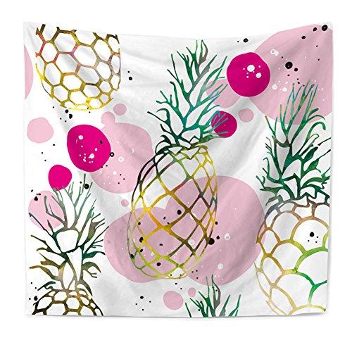 Gold Ananas und Blasen Bedruckt Wandbehang Wandkunst Hängende Tapisserie Vintage Hippie Wandteppiche Böhmen Tapisserie Wand Dekor - Ananas Blase