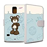 YOUNiiK Mobile Phone Case Booklet (White) for Samsung Galaxy S5 SM-G900 °F – NICI Classic Bear Brown