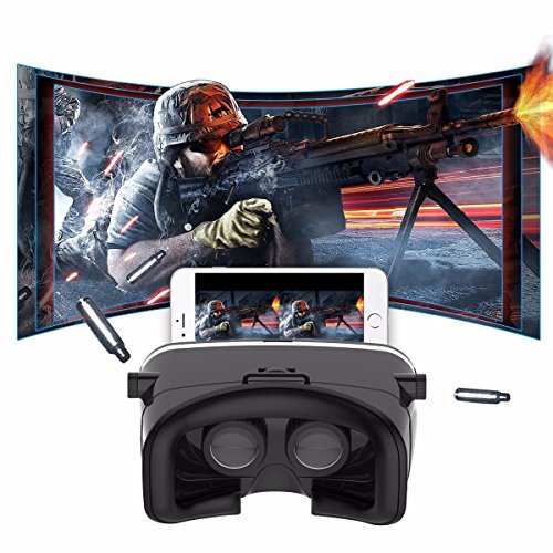 SIDARDOE VR Headset 3D VR Brille Virtual Reality Headset 360 Grad Panorama Videos und 3D Filme Anti-Bluelight Design kompatibel für 3.5-6 Zoll IOS Android Smartphones iphone SE 6 6s plus Samsung Galaxy Xperia HTC Sony usw Schwarz