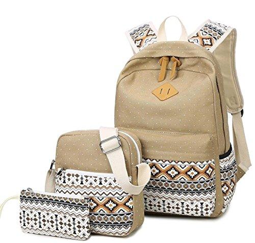 Hippolo 3PCS Casual Canvas Schulrucksack Set+Schultertasche +Geldbeutel/Mäppchen Causal Rucksack Freizeitrucksack Daypacks Backpack für Mädchen Jungen & Kinder Jugendliche Damen Herren (Khaki)