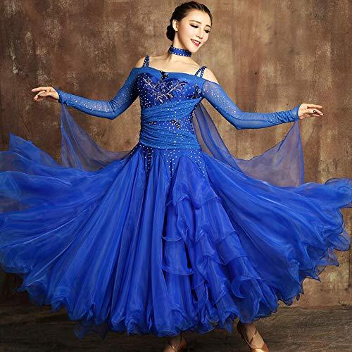 Liu Sensen Frauen Classic Dance Kleid Latin Belly Dance Wettbewerb Kostüm Schmetterling Stickerei Glänzend Diamant 720 ° Überdimensionale Hemden Rock Handgefertigte Applique Große Größe XL 2XL,S