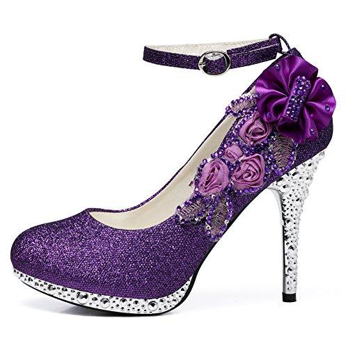 Getmorebeauty GetmorebeautyUpdate - Sandali con Zeppa Donna Purple Flower