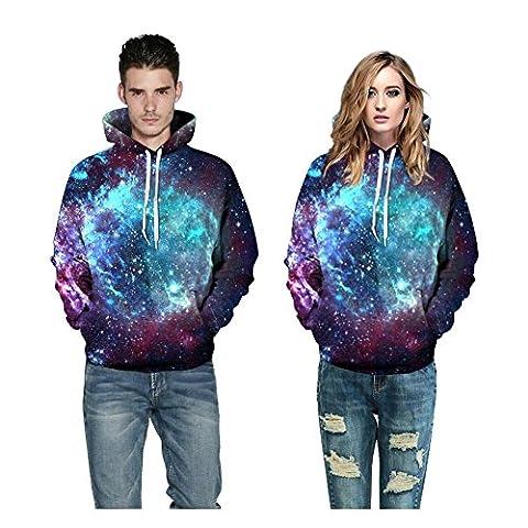 KKYLOVEJ Unisexe Imprimé 3D Galaxie Sweat Décontractée Sweat-shirts à Capuche Amoureux avec Big Pockets (S M L XL 2XL 3XL) , Couple Hoodies B Style , s/m