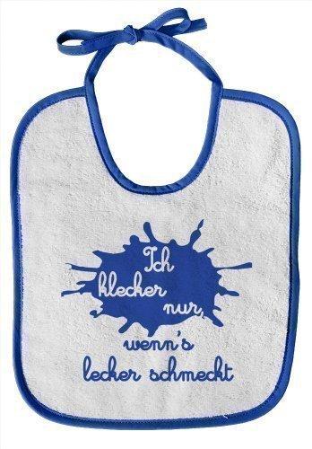 bavaglino-per-bambini-con-stampa-ich-klecker-nur-wennzs-lecker-schmeckt-nuovo-12434-orlo-blu