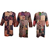 Boho Chic Designs Front Open Patchwork Tunic Top Embroidered Shirt Kurti Wholesale 3 Set