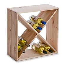 "Zeller 13170 Wine Shelf Natural Wood ""Kreuz"" 52 x 25 x 52"