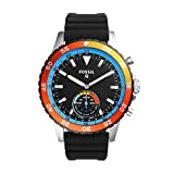 FOSSIL Hybrid Smartwatch Q Crewmaster Black SiliconeMens Quartz Wrist Watch With Activity Tracker Water Resistant