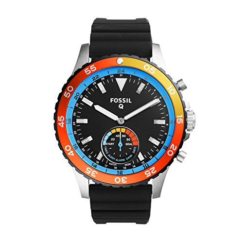 FOSSIL Hybrid Smartwatch Q Crewmaster Black Silicone – Men's Quartz Wrist Watch with Activity Tracker – Water resistant
