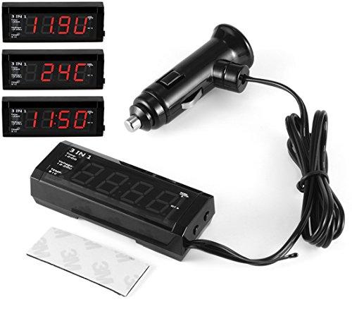 Preisvergleich Produktbild GOFORJUMP 3 In 1 Digital Auto Uhr Zeit Thermometer Voltmeter 12 V / 24 V Innen TEM Temperatur Spannung Meter LED-anzeige