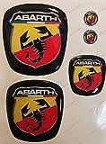 Logo vorne, hinten + Lenkrad + 2Wappen-Schlüsselanhänger. Für Motorhaube und Kofferraum. Aufkleber harzbeschichtet, Effekt 3d. Verzierungen Skorpion, Hintergrund Schwarz