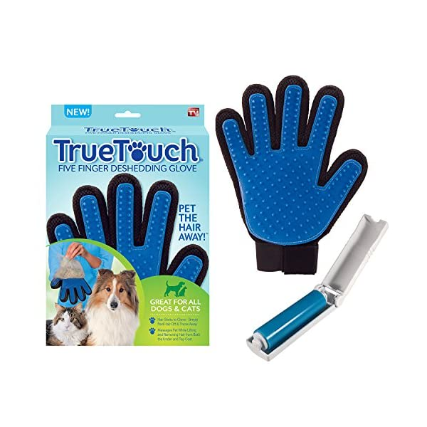 Allstar Innovations True Touch Five Finger Deshedding Glove- Premium Version, Great for Cats & Dogs- Includes 1 Authentic True Touch Glove 1 Lint Roller- As Seen on TV 1