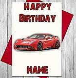 Sport Auto ROT Ferrari Personalisierte Geburtstagskarte–Jeder Name und Alter Druck auf der Vorderseite