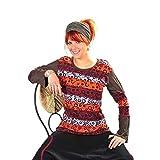 Patchwork Oberteil Sweatshirt Shirt Pullover Freizeitshirt Hippie Goa PSY Sweater Zip Batik Kringel (XL)