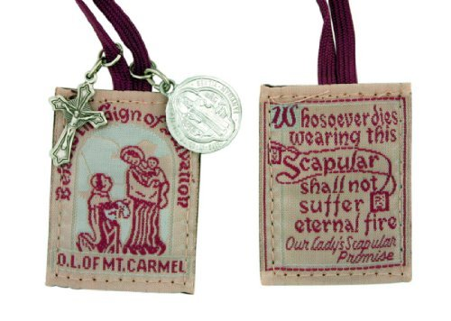 Religious Gifts Unsere Notebooktasche Versprechen Braun Tuch Kordel Skapulier mit St. Benedikt Schutz Medaille