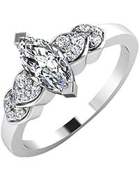 IskiUski White Gold And American Diamond Ring For Women - B075VHDHBG