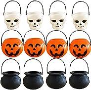 12 Pcs Mini Halloween Pumpkin Candy Bowl Bucket Lightweight Trick Or Treat Pots Wizard Ghost Buckets for Hallo